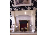 BEAUTIFUL FIRE PLACE WITH MARBLE FRONT & ELECTRIC FIRE FOR SALE - SPRINGBURN