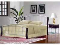 EX DEMO. 5ft King size Metal bed frame, bedstead. Silver and dark wood