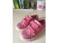 Clarks Girls pink light up shoes 9f