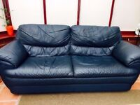 Blue Leather 3 Seater Sofa