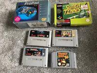 Super Nintendo games and pad also Donkey Kong 64