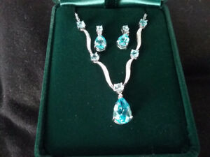 Blue Topaz Pendant Necklace with Matching Earrings