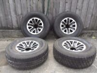 set of 4 alloy wheels Mitsubishi shogun wheels and tyres 4 x 4 wheels & tyres with tread