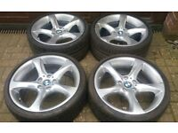 "GENUINE 19"" BMW STYLE 230 ALLOY WHEELS E90 F30 F31 MATCHING 7MM BRIDGESTONE RFTS"