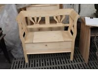 solid pine lift lid bench