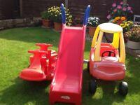 Children's outdoor toys including ELC rocker / Slide / Little Tykes car