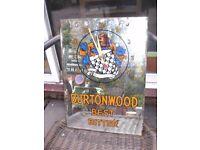 "' BURTONWOOD BEST BEER ' GLASS WALL CLOCK - 11 1/4"" wide x 16"" high - WELL WORN CONDITION - RARE"
