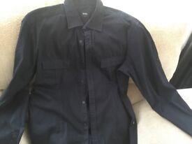 Hugo boss black slim fit long sleeve shirt size large