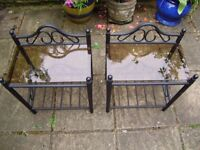 Table / plant stand x2, wrought iron base, beautiful design, perfect condition, only 1 year old