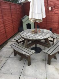 8 seater wooden round picnic table