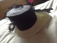 Beautiful black silk with cream straw hat