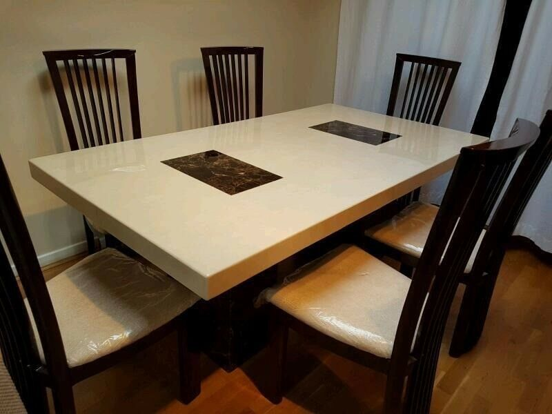 AS NEW DFS STRASBOURG MARBLE DINING TABLE 6 CHAIRS -RARE COLOUR ...