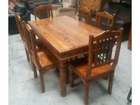 Solid indian pine wood dining table & 6 chairs in good condition can deliver 07808222995