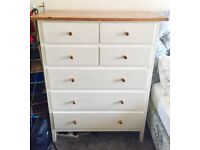 White & Pine 7 Drawer Unit - Excellent Condition