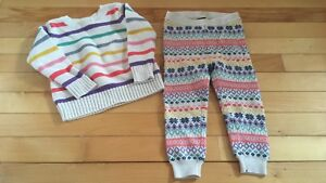 2T  sweater lot, 1 pair leggings