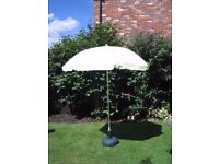 Garden/Beach Parasol in pale green. Used, with some marking, so priced to clear