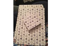 Dunelm Four love heart grey and white place mats and four coasters