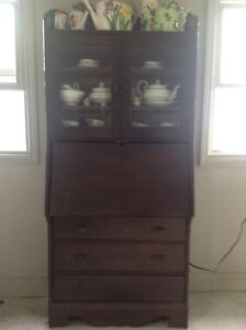 Antique wood hutch with glass display & sec desk