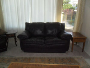 Unique Neutral Leather Loveseat & Rocker Recliner,