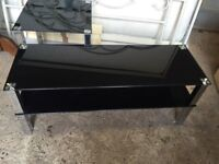 TV stand and side table, black glass, silver metal legs