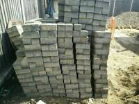 Grey paving bricks ready for collection