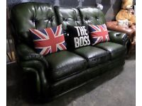 Stunning Chesterfield High Back 3 Seater Green Leather Sofa - UK Delivery
