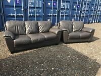 Italian Brown Leather Sofas Excellent Condition Fast Free Delivery In Norwich,