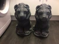 VERY HEAVY LION STATUES.