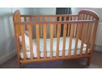 Wooden cot & mattress