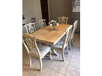 Shabby Chic oak dining table and 6 chairs