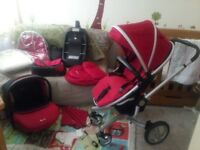 Silvercross Surf pushchair, simplicity car seat, isofix and accessories