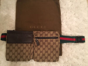 Gucci original GG canvas belt bag with leather detail