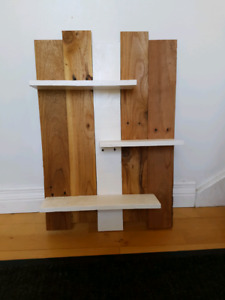 4 hand crafted solid wood shelves