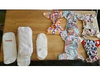 Reusable nappy set and laundry powder