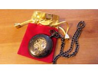 Brand new Steampunk retro vintage style pocket watch with steel chain and bag