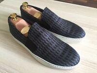 Luxurious Lanvin Navy Jaquard Slip On mens sneakers, silk, calfskin 43 / uk9, BNIB, rrp £310