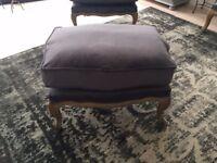 NEW GREY VELVET Le Notre French Vintage Style Shabby Chic Oak Stool
