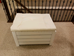 IKEA wooden storage bench with cushion