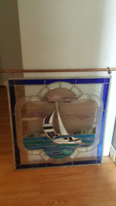 Large One of a Kind - Custom Made Nautical Themed Stained Glass