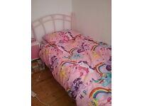 Pink bed frame + mattress
