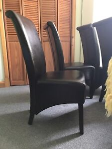 4 slipper back chairs - deep  espresso brown