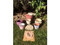Selection of Plant Pots x 6 plus Garden Ornaments