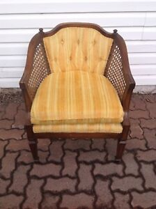 French style chair with barrel wicker tubing