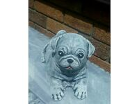 Pug dog concrete garden ornament