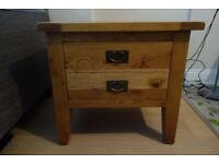 Solid rustic oak lamp table with large drawer (W 68cm x H 61 cm x D 58cm) £85
