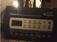 Electronic drum kit, Roland TD-3(Missing kick, hi-hat pedal and cymbal pad)