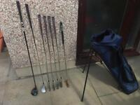 Set of golf clubs. Wilson Irons, driver, 3 wood, putter & golf bag. Very good condition