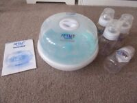 Microwave Steam Steriliser with Baby Feeding Bottles (Avent Naturally Express)