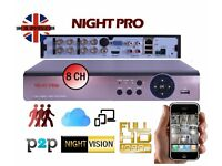 AHD 1080P/720P DVR 8 CHANNEL VIDEO RECORDER CCTV HD NETWORK CLOUD P2P HDMI *