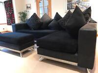 Comfy Black Fabric Corner Sofa & Footstool